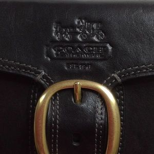 Coach Bags - COACH BLACK LEATHER CHECK BOOK WALLET.